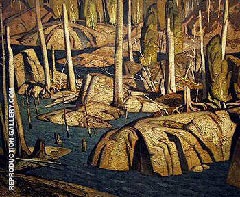 Back Water By A J Casson Replica Paintings on Canvas - Reproduction Gallery