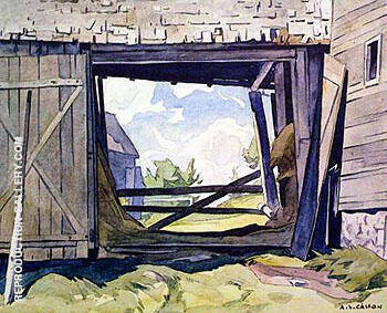 Barn at Baptiste By A J Casson - Oil Paintings & Art Reproductions - Reproduction Gallery