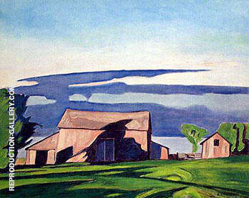 Reproduction of Barn on Bay View by A J Casson | Oil Painting Replica On CanvasReproduction Gallery