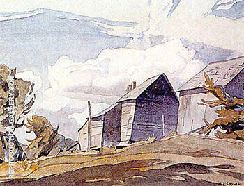 Barn on York River By A J Casson