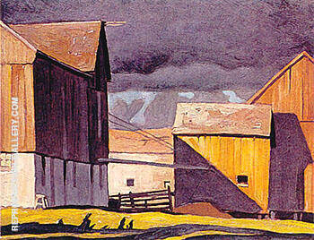 Barns at Twelve Mile Lake By A J Casson - Oil Paintings & Art Reproductions - Reproduction Gallery