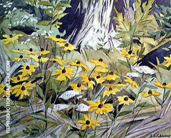 Black Eyed Susans By A J Casson - Oil Paintings & Art Reproductions - Reproduction Gallery