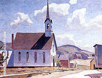 Church of St Lawrence Otoole By A J Casson Replica Paintings on Canvas - Reproduction Gallery