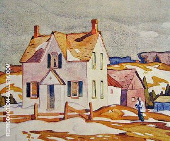 Reproduction of Farm House A by A J Casson | Oil Painting Replica On CanvasReproduction Gallery