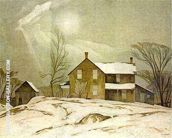 Farm House March Day Painting By A J Casson - Reproduction Gallery