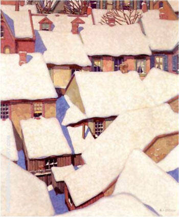 Houses in the Ward By A J Casson - Oil Paintings & Art Reproductions - Reproduction Gallery