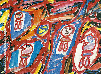 Site with 4 Characters 1981 By Jean Dubuffet - Oil Paintings & Art Reproductions - Reproduction Gallery