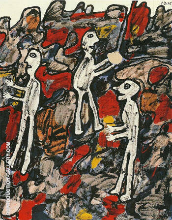 Site with Three Characters One with a Cake 1975 By Jean Dubuffet - Oil Paintings & Art Reproductions - Reproduction Gallery