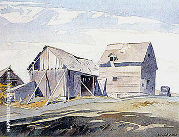 Northern Barns By A J Casson Replica Paintings on Canvas - Reproduction Gallery