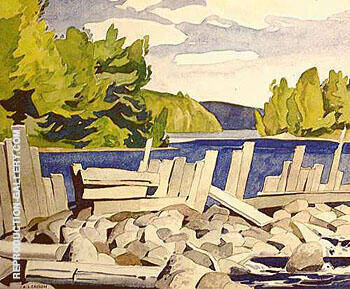 Old Dam By A J Casson - Oil Paintings & Art Reproductions - Reproduction Gallery