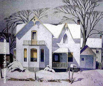 Village House By A J Casson - Oil Paintings & Art Reproductions - Reproduction Gallery