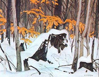 Birch Leaves in Winter By A J Casson