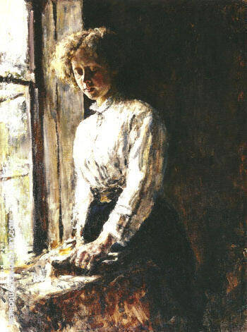 by the Window Portrait of Olga Trubnikova 1886 By Valentin Serov