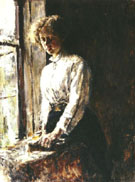 by the Window Portrait of Olga Trubnikova 1886 By Valentin Serov