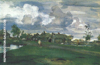 Reproduction of Village 1898 by Valentin Serov | Oil Painting Replica On CanvasReproduction Gallery