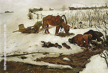 Rinsing Linen On the River 1901 By Valentin Serov Replica Paintings on Canvas - Reproduction Gallery