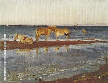 Horses on a Shore 1905 Painting By Valentin Serov - Reproduction Gallery