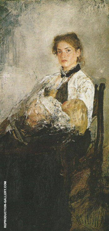 Portrait of Nadezhda Derviz with her Child c1888 Painting By ...