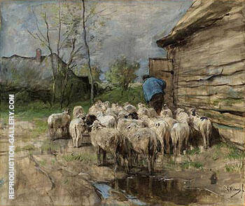 Entering the Fold c1885 By Anton Mauve - Oil Paintings & Art Reproductions - Reproduction Gallery