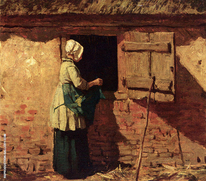 A Peasant Woman by a Barn By Anton Mauve Replica Paintings on Canvas - Reproduction Gallery