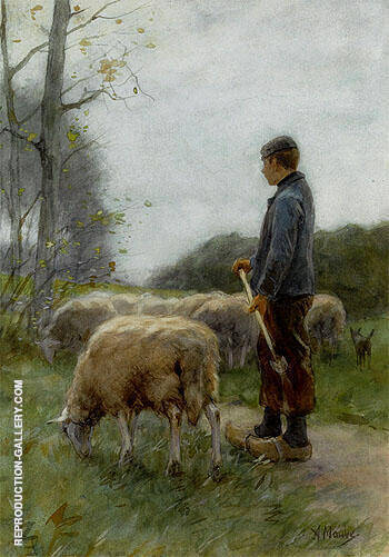 A Shepherd and His Flock By Anton Mauve Replica Paintings on Canvas - Reproduction Gallery