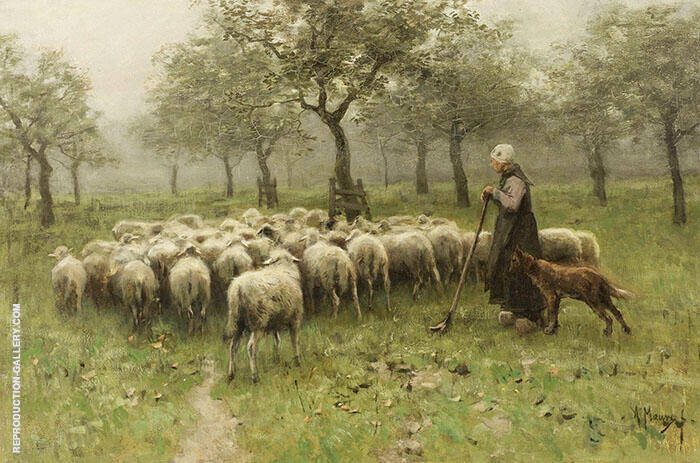 Shepherdess with Flock of Sheep By Anton Mauve