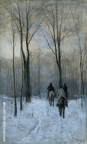Riders in the Snow of the Woods at The Hague Painting By Anton Mauve