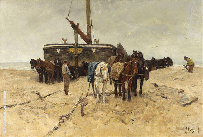 Fishing Boat on the Beach By Anton Mauve Replica Paintings on Canvas - Reproduction Gallery