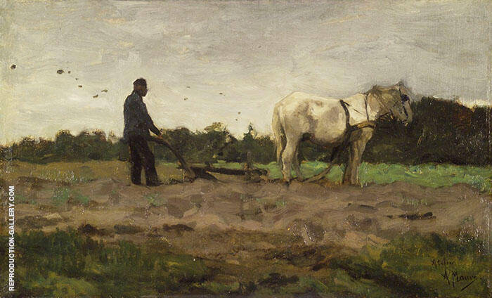 Plowing c1885 By Anton Mauve Replica Paintings on Canvas - Reproduction Gallery