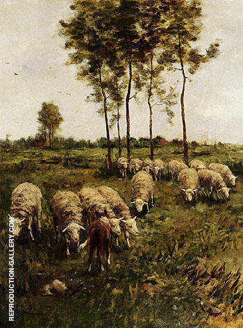 Reproduction of A Girl Watching The Flock by Anton Mauve | Oil Painting Replica On CanvasReproduction Gallery