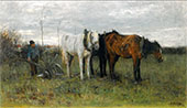 A Ploughing Farmer By Anton Mauve