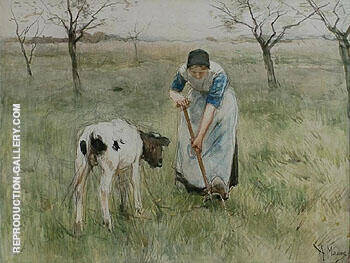 Farmers Wife from Laren with a Little Goat By Anton Mauve Replica Paintings on Canvas - Reproduction Gallery