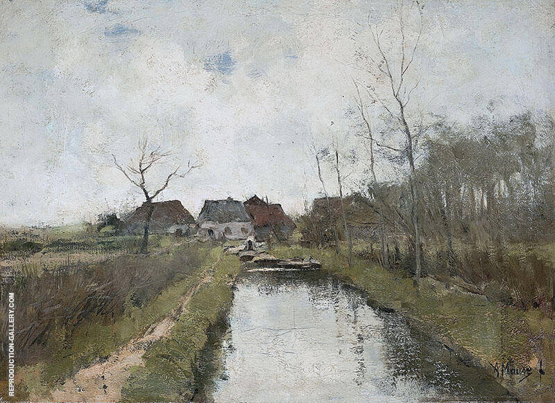 A Cottage by a Ditch By Anton Mauve Replica Paintings on Canvas - Reproduction Gallery