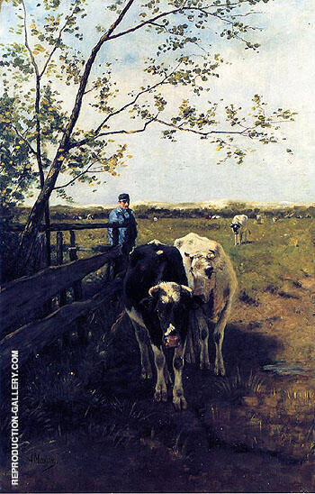 Finished Grazing Painting By Anton Mauve - Reproduction Gallery