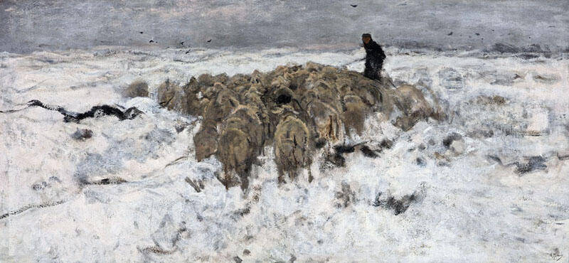 Flock of Sheep with Shepherd in the Snow c1878 By Anton Mauve