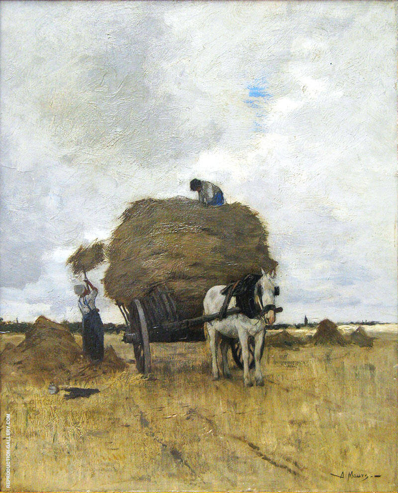 Harvesting Hay By Anton Mauve Replica Paintings on Canvas - Reproduction Gallery
