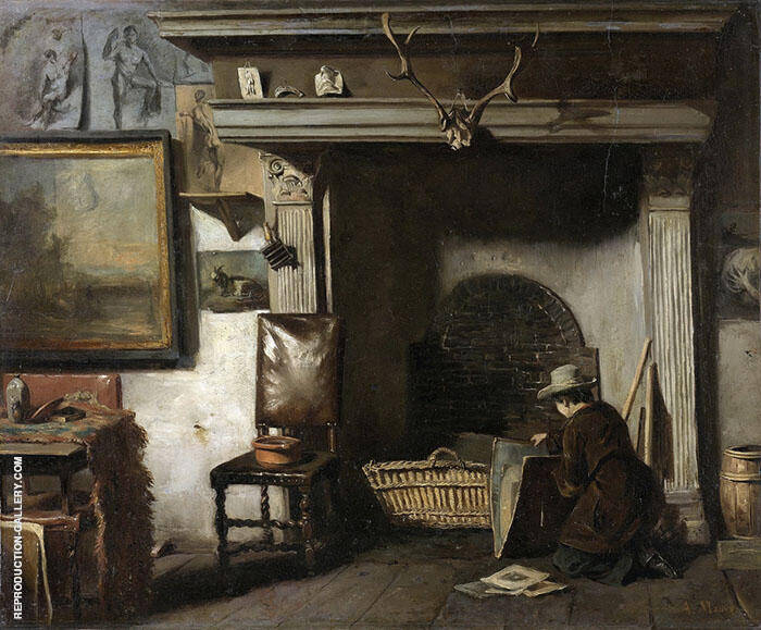 The Workshop of the Haarlem Painter Pieter Frederik van Os The Teacher of Mauve c1885 By Anton Mauve Replica Paintings on Canvas - Reproduction Gallery