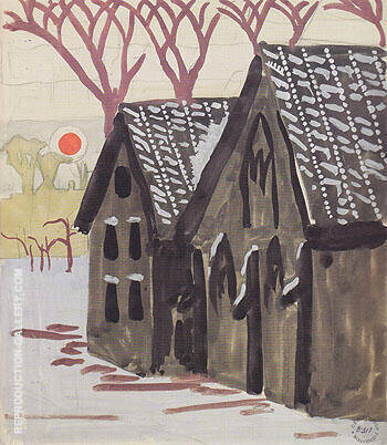 Landscape with Orange Sun 1916 By Charles Burchfield