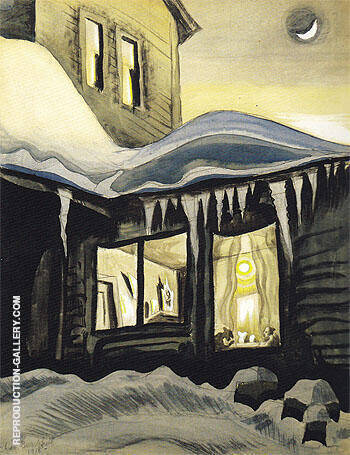 New Moon in January 1918 By Charles Burchfield