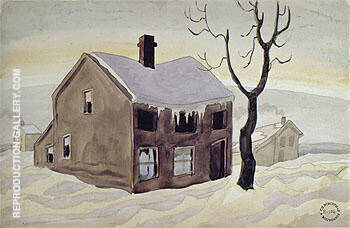 House and The Snow 1920 By Charles Burchfield
