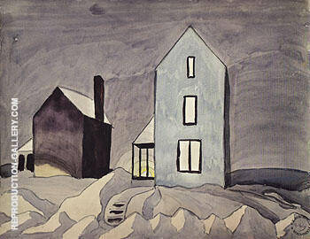Two Houses 1920 By Charles Burchfield - Oil Paintings & Art Reproductions - Reproduction Gallery