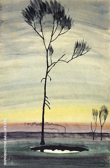 Tree and Pond 1920 By Charles Burchfield