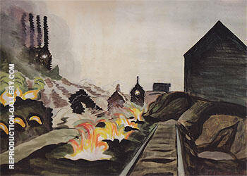 Coke Ovens at Night 1920 Painting By Charles Burchfield