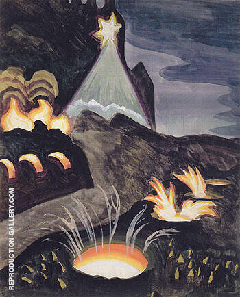 Star and Fires By Charles Burchfield Replica Paintings on Canvas - Reproduction Gallery