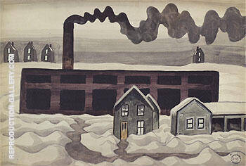 Factory and Houses 1920 By Charles Burchfield - Oil Paintings & Art Reproductions - Reproduction Gallery