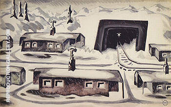Houses in Snowy Winter Landscape 1920 By Charles Burchfield