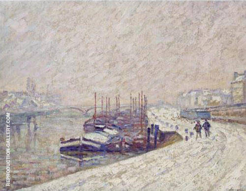 Barge in the Snow By Armand Guillaumin Replica Paintings on Canvas - Reproduction Gallery