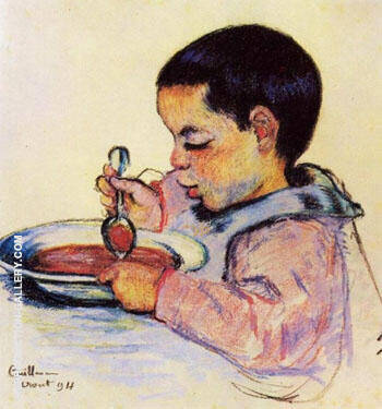 Child Eating Soup By Armand Guillaumin Replica Paintings on Canvas - Reproduction Gallery