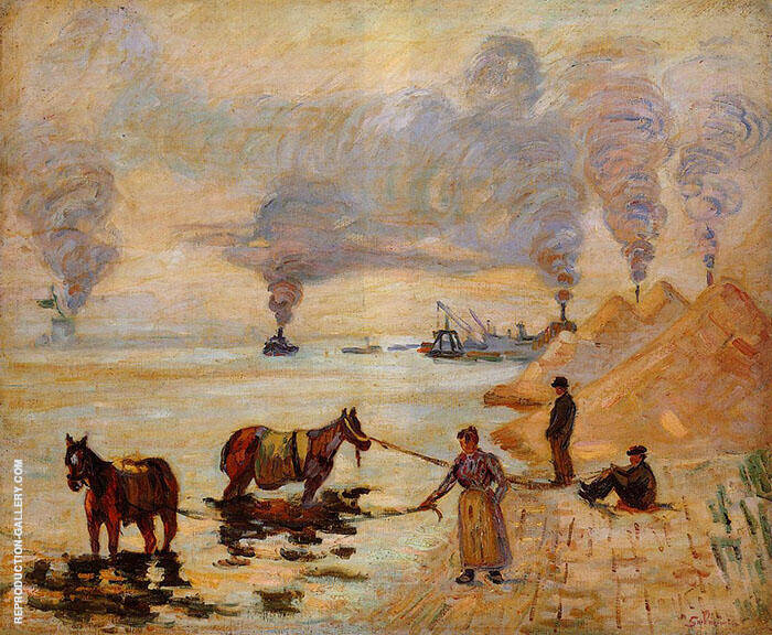 Horses in the Sand at Ivry By Armand Guillaumin Replica Paintings on Canvas - Reproduction Gallery