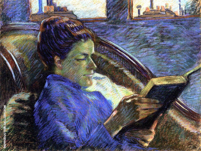 Madame Guillaumin Reading By Armand Guillaumin Replica Paintings on Canvas - Reproduction Gallery